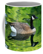 Canada Goose On Green Pond Coffee Mug