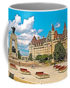 Canadian War Memorial And Chateau Laurier In Ottawa-ontario  Coffee Mug