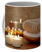 Candles And Towels In A Spa Coffee Mug by Olivier Le Queinec