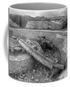 Cannon Remains From Ww2 Bw Coffee Mug