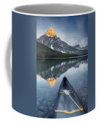 Canoe At Lower Waterfowl Lake With Coffee Mug