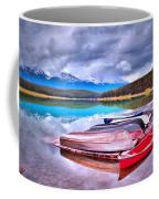 Canoes At Lake Patricia Coffee Mug