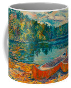 Canoes At Mountain Lake Coffee Mug