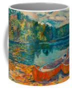 Canoes At Mountain Lake Coffee Mug
