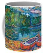 Canoes At Mountain Lake Sketch Coffee Mug