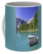 Canoes In Moraine Lake And Valley Of Coffee Mug