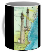 Cape Ann Twin Lighthouses Ma Nautical Chart Map Art Cathy Peek Coffee Mug