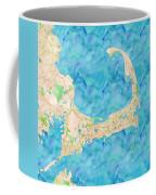 Cape Cod Watercolor Map Coffee Mug