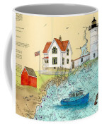 Cape Neddick Lighthouse Me Nautical Chart Map Art Cathy Peek Coffee Mug