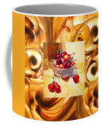 Cappuccino Abstract Collage Cherries Coffee Mug