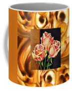 Cappuccino Abstract Collage French Roses Coffee Mug