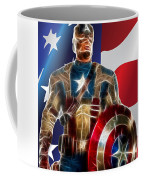 Captain America In Front Of Old Glory Coffee Mug