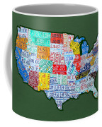 Car Tag Number Plate Art Usa On Green Coffee Mug