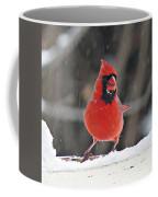 Cardinal In Snowstorm Coffee Mug