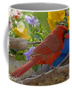 Cardinal With Pansies And Decorations Coffee Mug