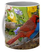 Cardinal With Pansies And Decorations Photoart Coffee Mug