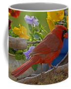 Cardinal With Pansies Coffee Mug