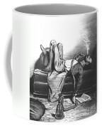 Caricature Of The Romantic Writer Searching His Inspiration In The Hashish Coffee Mug