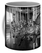 Carousel Horses In Black And White Coffee Mug