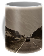 Cars And Other Vehicles On A Road In The Scottish Highlands Coffee Mug