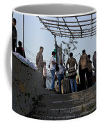 Cartoon - Locals And Tourists Standing At The Top Of The Steps Near The Dal Lake Coffee Mug