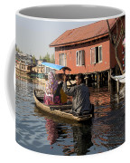 Cartoon - Man Rowing A Family In A Wooden Boat Coffee Mug