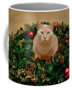Cat And Christmas Wreath Coffee Mug
