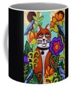Cat And Four Birds Coffee Mug