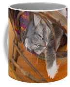 Cat Asleep In A Wooden Rocking Chair Coffee Mug