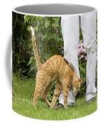 Cat Brushing Against Legs Coffee Mug