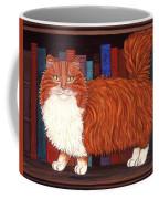 Cat On Book Shelf Coffee Mug