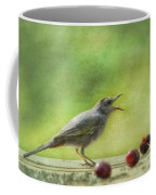Catbird Eating Cherries Coffee Mug