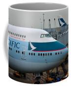 Cathay Pacific 747 Jumbo Jet Parked At Hong Kong Airport Coffee Mug