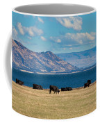 Cattle Grazing At Hawea Lake In Southern Alps In New Zealand Coffee Mug