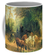 Cattle Watering In A Wooded Landscape Coffee Mug