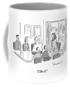 Caveman Stands At Head Of Table In Boardroom Coffee Mug