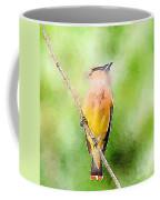 Cedar Waxwing Watercolor Art  Coffee Mug