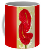 Celebration - Red Anthurium And White Orchids  Coffee Mug