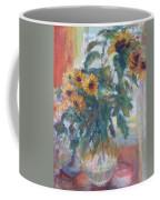 Sale - Sunflowers In Window Light - Original Impressionist - Large Oil Painting Coffee Mug