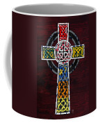 Celtic Cross License Plate Art Recycled Mosaic On Wood Board Coffee Mug