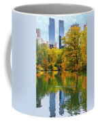 Central Park Pond Autumn Reflections Coffee Mug