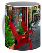 Chairs On A Sidewalk Coffee Mug by James Eddy