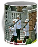 Changing Of The Guard Near Reception Hall At Grand Palace Of Thailand In Bangkok Coffee Mug