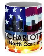 Charlotte Nc Patriotic Large Cityscape Coffee Mug by Angelina Vick