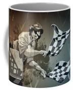 Checkered Flag Grunge Monochrome Coffee Mug