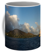 Cheerful Orange Catamaran And Diamond Head - Waikiki - Hawaii Coffee Mug