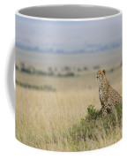 Cheetah Perched On A Mound Coffee Mug
