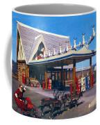 Chevron Gas Station At Santa's Village With Reindeer And Carl Hansen Coffee Mug