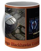 Chicago Blackhawks United Center Signage 2 Panel Tan Coffee Mug