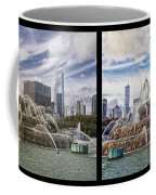 Chicago Buckingham Fountain 2 Panel Looking West And North Black Coffee Mug